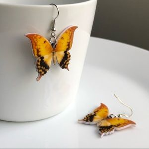 Jewelry - NEW Acrylic Yellow Butterfly Earrings